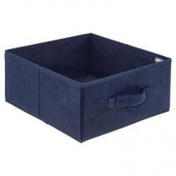 Boite Rangement 31x15cm Velours Bleu foncé