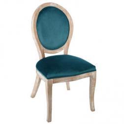 "Chaise ""Cléon"" bleue en velours"