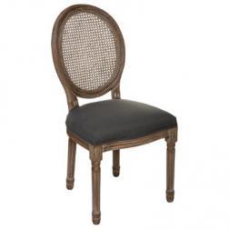 """Chaise """"Cléon"""" gris galet en cannage"""