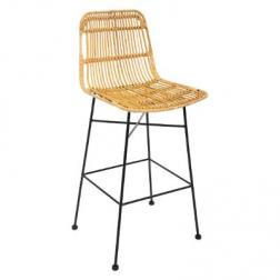 "Chaise de bar ""Kubu"", métal & rotin"
