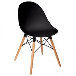 """Chaise """"Ezra"""" noire, pieds en hêtre"""