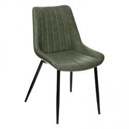 "Chaise ""Olwen"" vert kaki effet cuir"