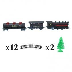 Coffret 17 pièces Train avec locomotive, wagons , rails et sapins