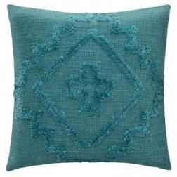 """Coussin """"Inca"""" en coton tufté bleu canard 40x40 cm"""