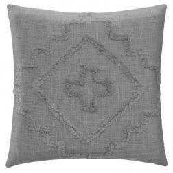"""Coussin """"Inca"""" en coton tufté gris 40x40 cm"""