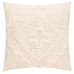 """Coussin """"Inca"""" en coton tufté ivoire 40x40 cm"""