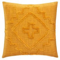 """Coussin """"Inca"""" en coton tufté jaune moutarde 40x40 cm"""