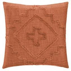 """Coussin """"Inca"""" en coton tufté terracota 40x40 cm"""