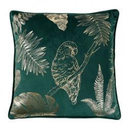 Coussin Velours 'Parrot' Vert et Doré