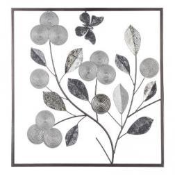 """Déco murale """"Florale"""", métal, argent 50x50 cm"""