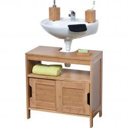 Élément sous lavabo bambou et MDF 2 portes coulissantes/1  étagère - mahe