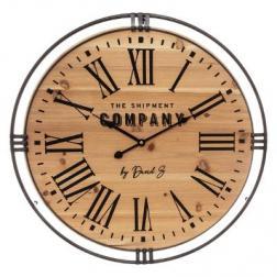 """Horloge """"Colonial"""" métal & bois D58 cm"""