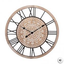 Horloge gravée en bois D67 cm