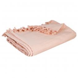 Jeté de lit en coton, rose 160x220 cm