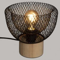 """Lampe """"Ewan"""", métal & bois, noir H19 cm"""