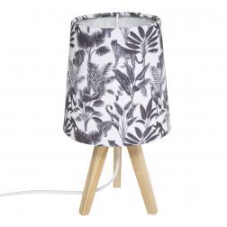 """Lampe trépied enfant """"Jungle"""", noir & blanc H24 cm"""