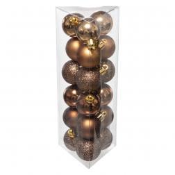Lot de 18 Boules de Noël D 3 cm -Bronze