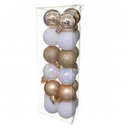 Lot de 18 Boules de Noël D 3 cm - Or et Blanc