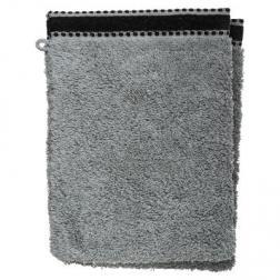 """Lot de 2 gants de toilette """"Joia"""", coton 550 gr/m², gris foncé 15x21 cm"""