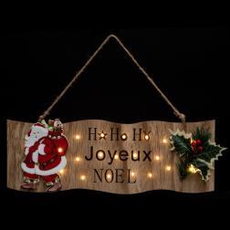 Pancarte Père Noël Houx H40cm 20 Led