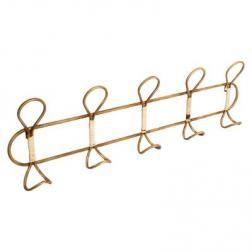 Patère 5 crochets en métal doré 76x21 cm