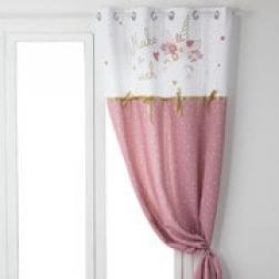 """Rideau enfant """"Licorne ruban"""", rose & blanc 140x260 cm"""