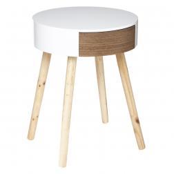 """Table à café ronde """"Dona"""", blanc & bois D40 cm"""