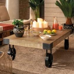 """Table basse """"Silas"""", métal & bois de manguier"""