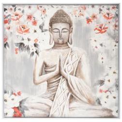 """Toile peinte """"Bouddha"""" encadrée 78x78 cm"""