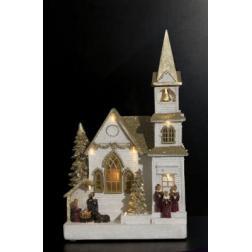Village de Noël lumineux, animé et musical Eglise doré